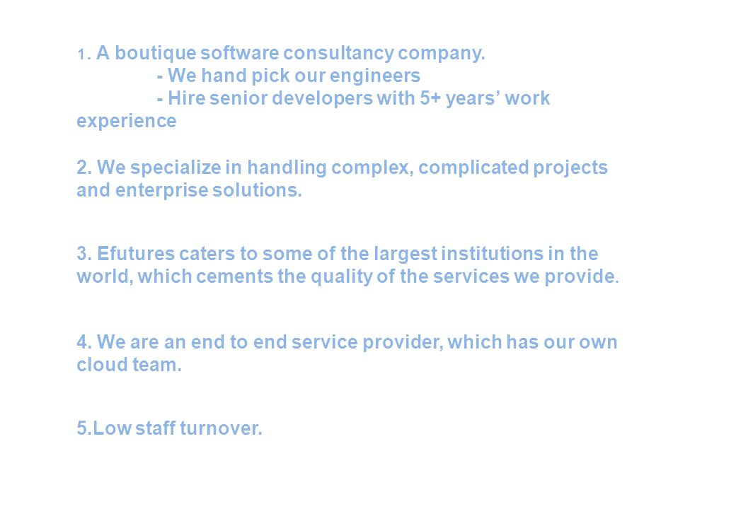 1. A boutique software consultancy company.