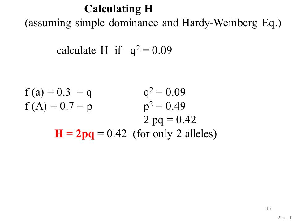 17 Calculating H (assuming simple dominance and Hardy-Weinberg Eq.) calculate H if q 2 = 0.09 f (a) = 0.3 = qq 2 = 0.09 f (A) = 0.7 = pp 2 = 0.49 2 pq