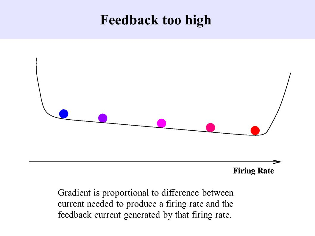 Feedback too high Gradient is proportional to difference between current needed to produce a firing rate and the feedback current generated by that firing rate.