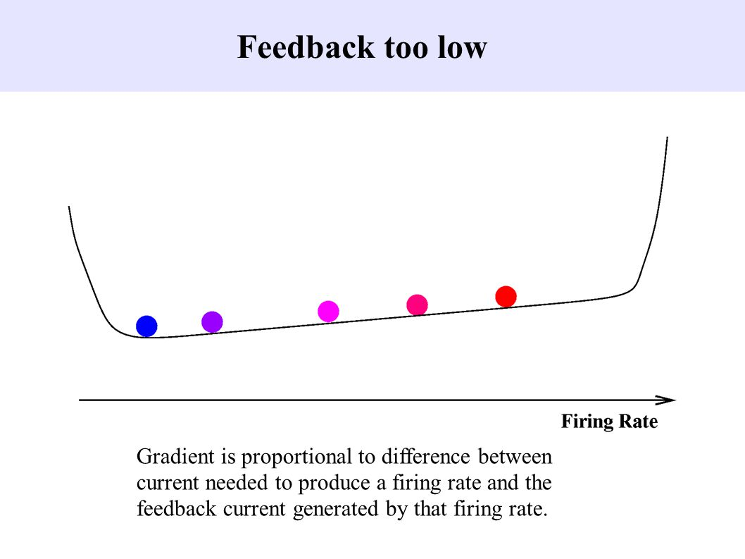 Feedback too low Gradient is proportional to difference between current needed to produce a firing rate and the feedback current generated by that firing rate.