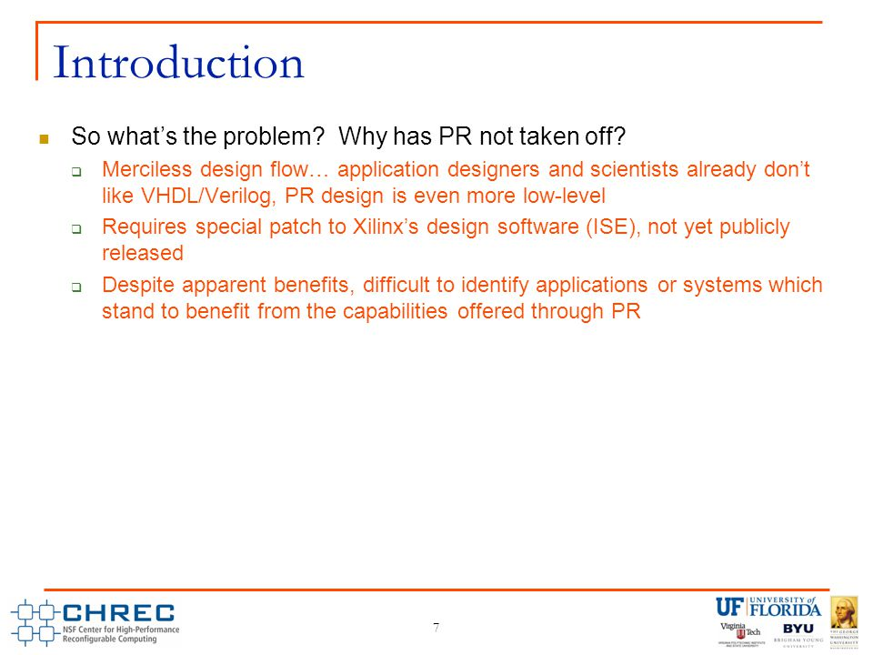 7 Introduction So what's the problem. Why has PR not taken off.