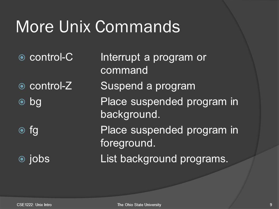 More Unix Commands  control-CInterrupt a program or command  control-ZSuspend a program  bgPlace suspended program in background.