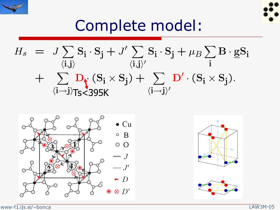 www-f1.ijs.si/~bonca LAW3M-05 Conclusions  FT simulations of Cv show good agreement with experimental data when symmetry breaking DM term is of the order of Dz~5K.