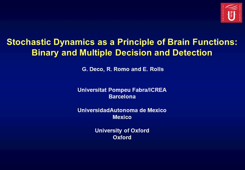 Detection as a Decision-Making Model CYNN (Competition Yes/No Neurons) NCY (No Competition Yes Neurons) YES NO Nonspecific Neurons Inhibitory Pool AMPA NMDA Background AMPA NMDA Background AMPA 1 1 1 W-W- W-W- W+W+ GABA YES Nonspecific Neurons Inhibitory Pool AMPA NMDA Background AMPA NMDA Background AMPA 1 1 1 W-W- WIWI GABA Stimulus Intensity Default- No spontaneous Yes-high No-high Yes-high