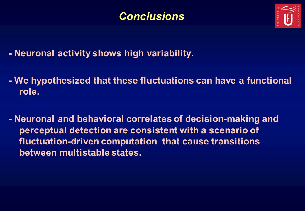 - Neuronal activity shows high variability.
