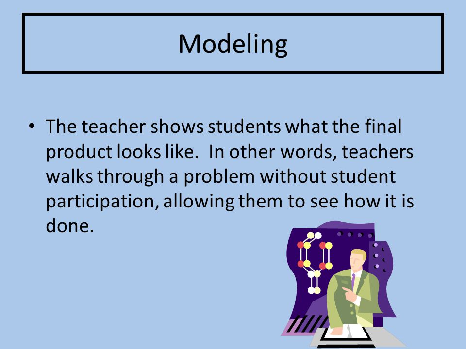 Modeling The teacher shows students what the final product looks like.