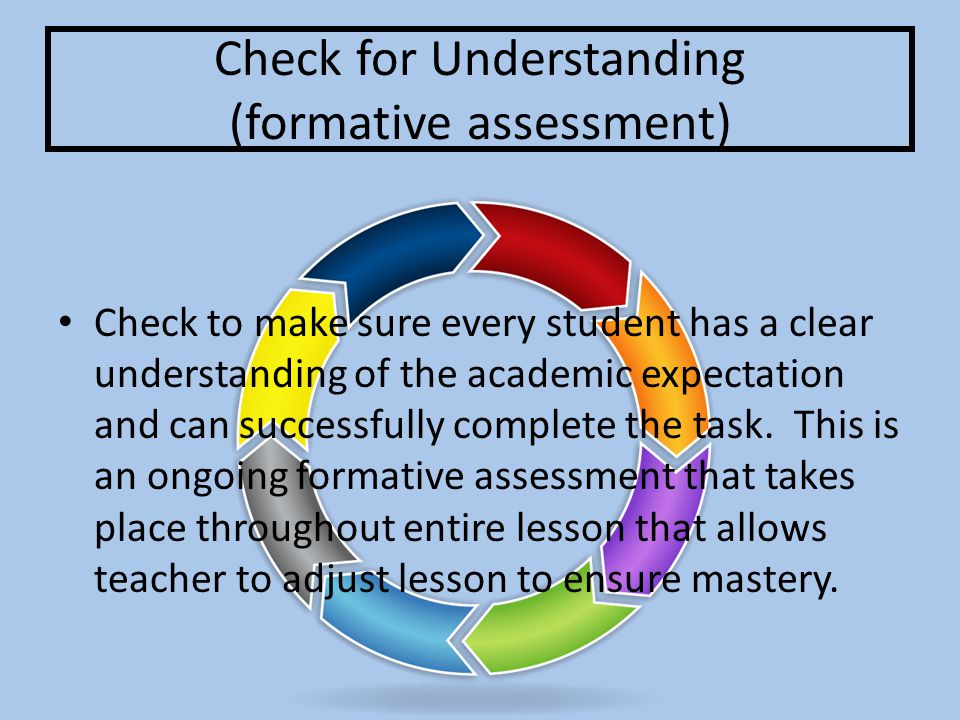 Feedback Teacher provides specific feedback on students progress towards meeting the day's objective.