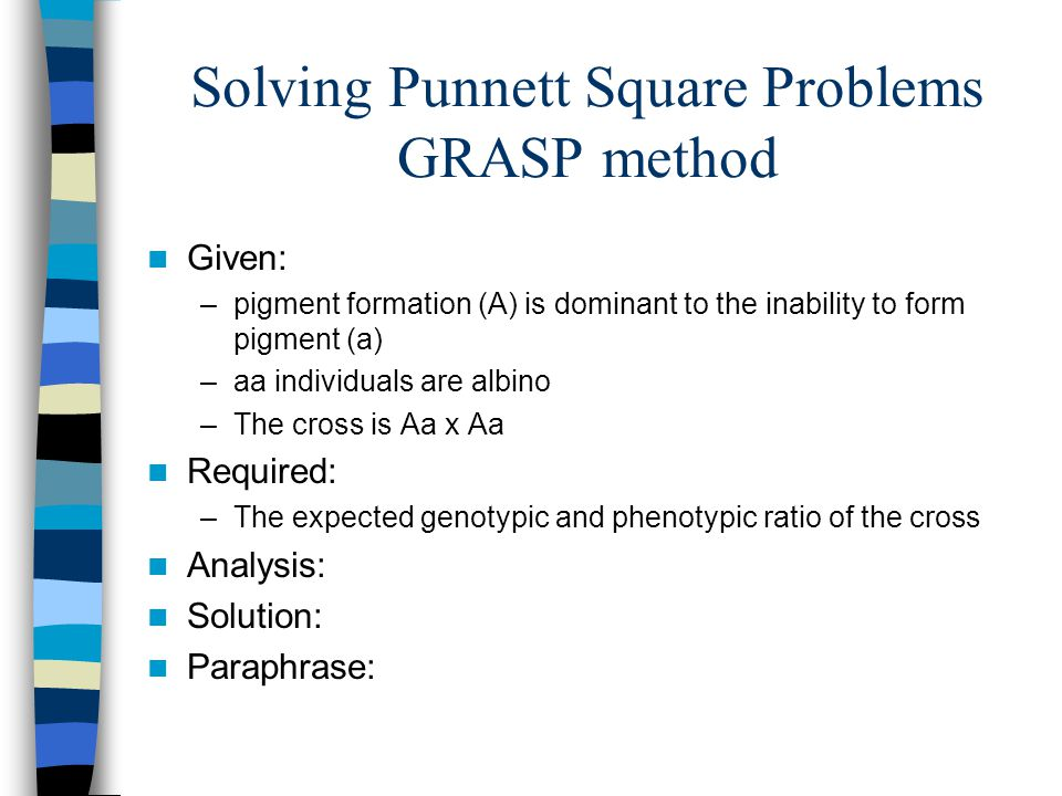 Solving Punnett Square Problems GRASP method Given: –pigment formation (A) is dominant to the inability to form pigment (a) –aa individuals are albino