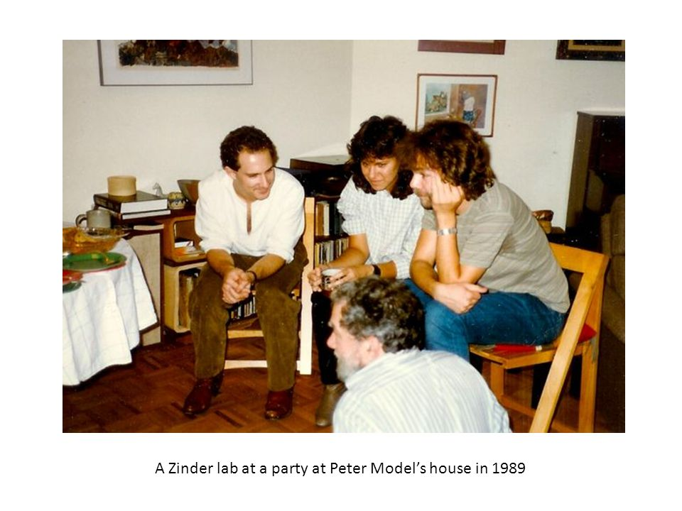 A Zinder lab at a party at Peter Model's house in 1989