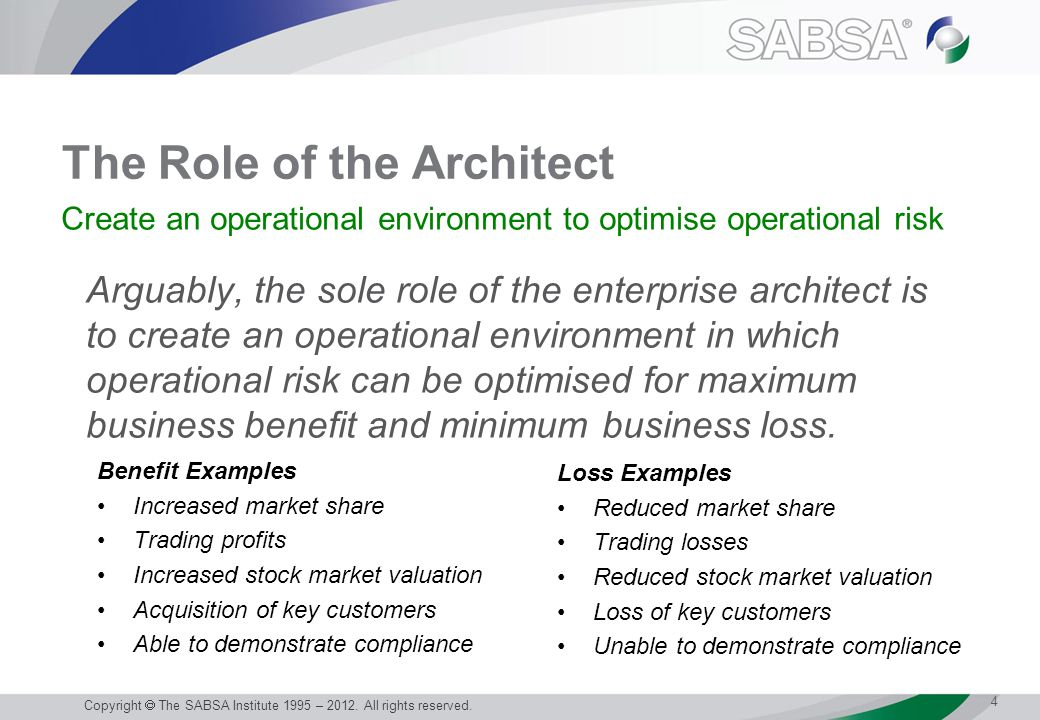 The Role of the Architect Arguably, the sole role of the enterprise architect is to create an operational environment in which operational risk can be optimised for maximum business benefit and minimum business loss.