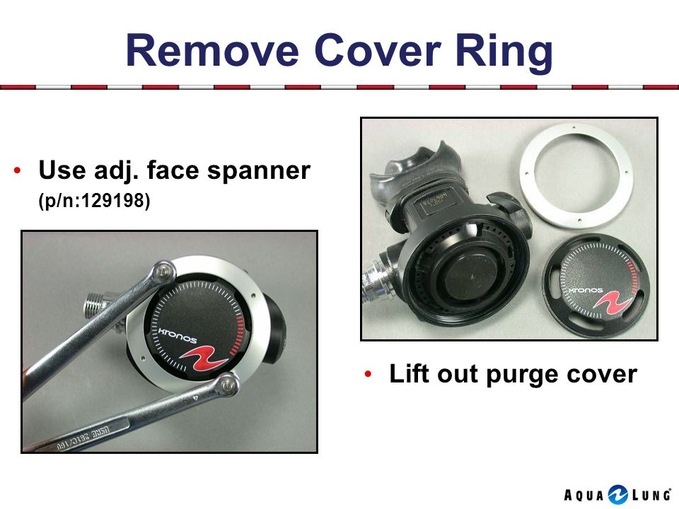 Remove Cover Ring Use adj. face spanner (p/n:129198) Lift out purge cover