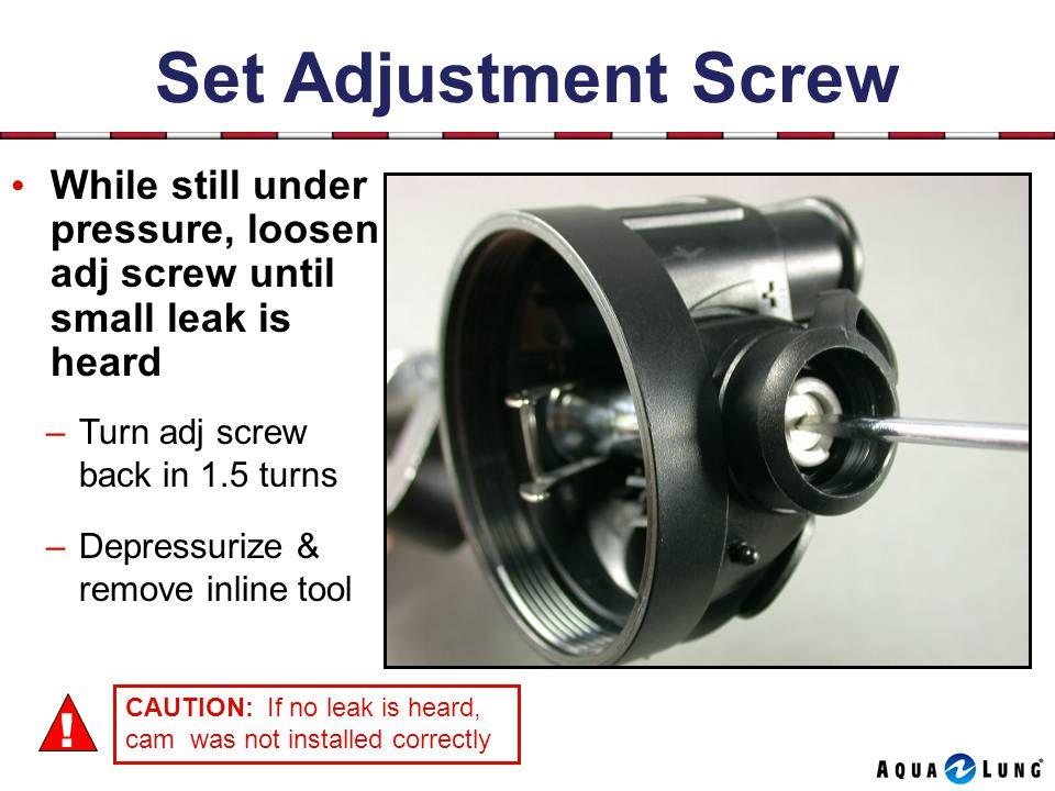 Set Adjustment Screw While still under pressure, loosen adj screw until small leak is heard –Turn adj screw back in 1.5 turns –Depressurize & remove inline tool CAUTION: If no leak is heard, cam was not installed correctly !