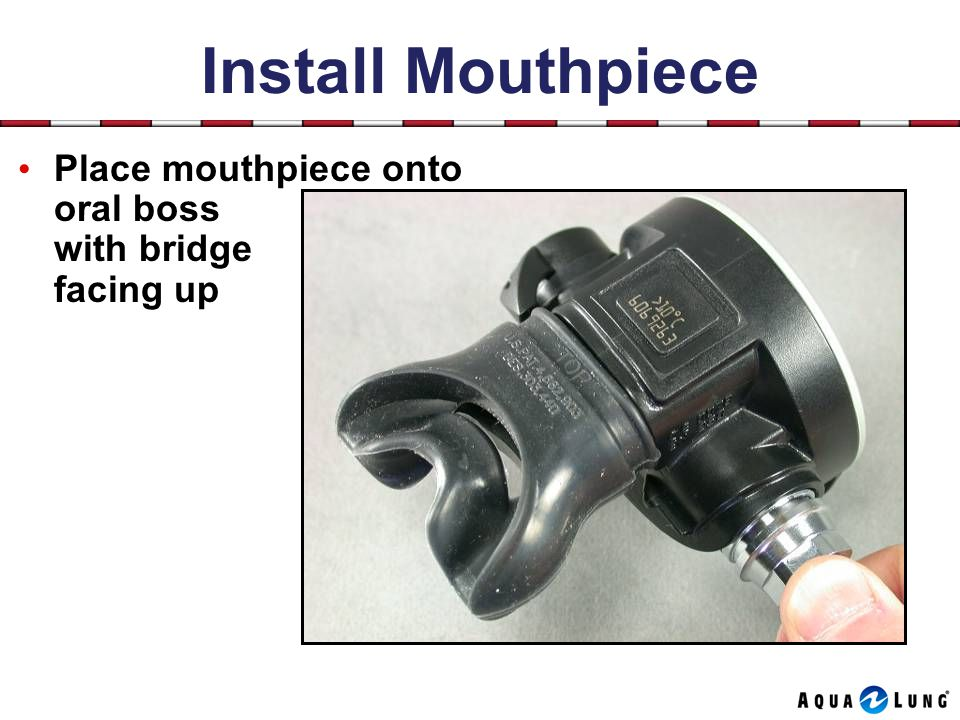 Install Mouthpiece Place mouthpiece onto oral boss with bridge facing up