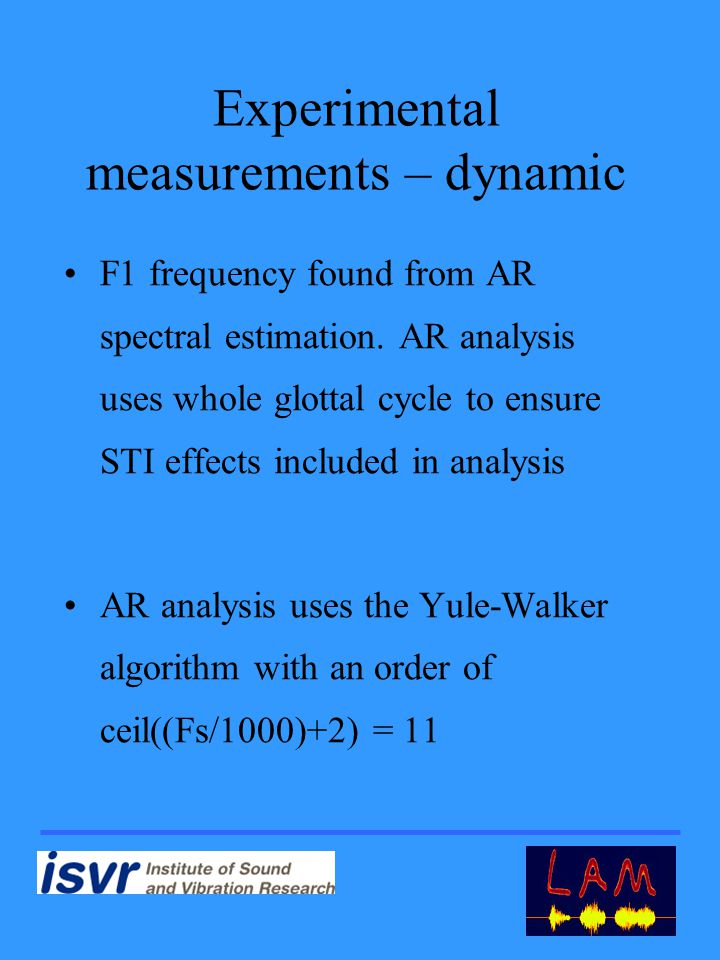 Experimental measurements – dynamic F1 frequency found from AR spectral estimation.