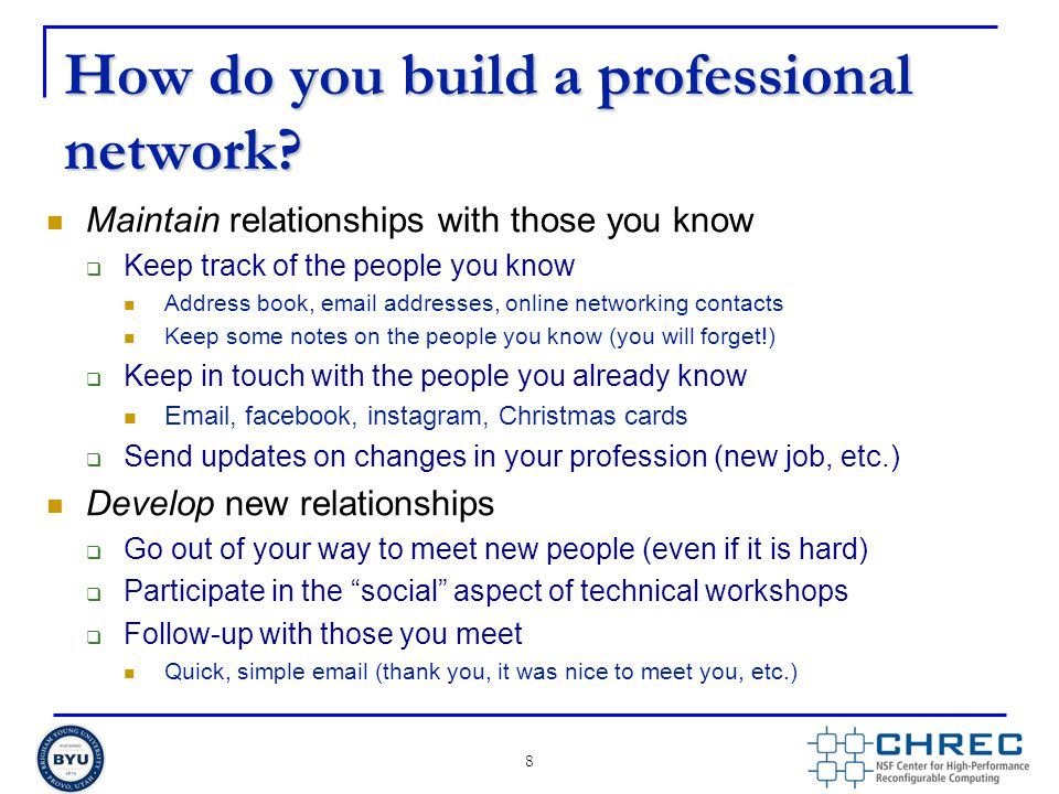 How do you build a professional network.