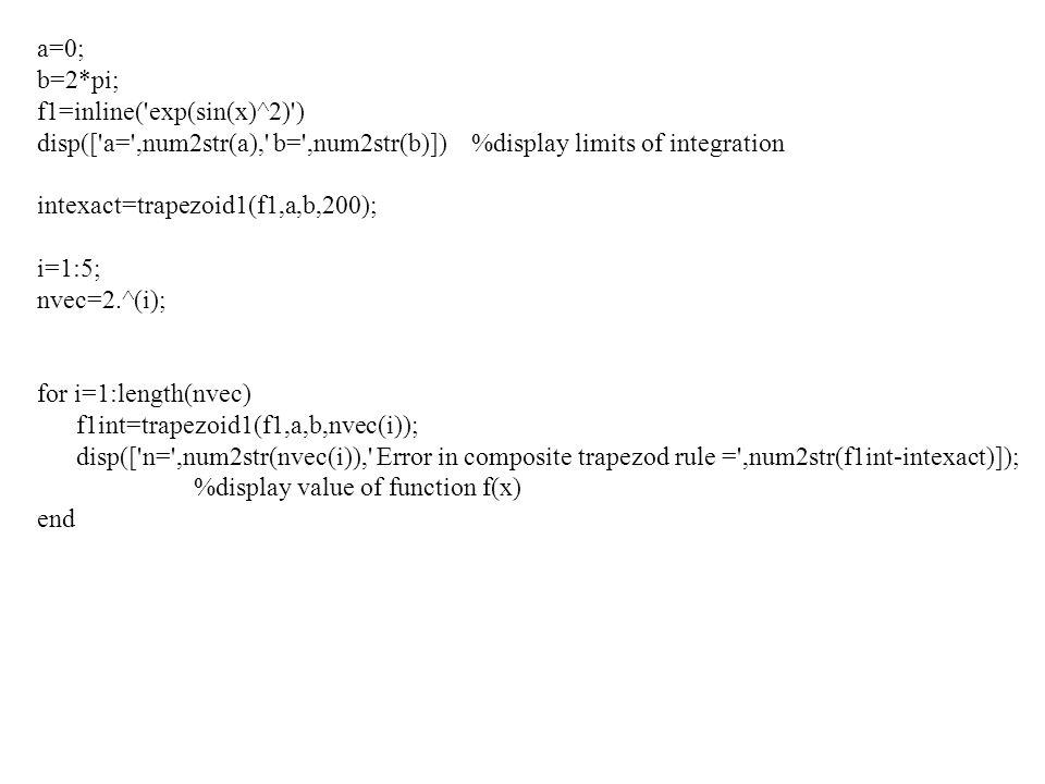 a=0; b=2*pi; f1=inline('exp(sin(x)^2)') disp(['a=',num2str(a),' b=',num2str(b)]) %display limits of integration intexact=trapezoid1(f1,a,b,200); i=1:5