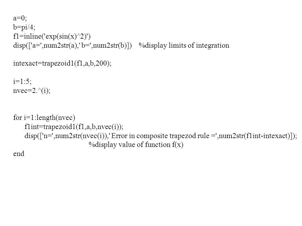 a=0; b=pi/4; f1=inline('exp(sin(x)^2)') disp(['a=',num2str(a),' b=',num2str(b)]) %display limits of integration intexact=trapezoid1(f1,a,b,200); i=1:5