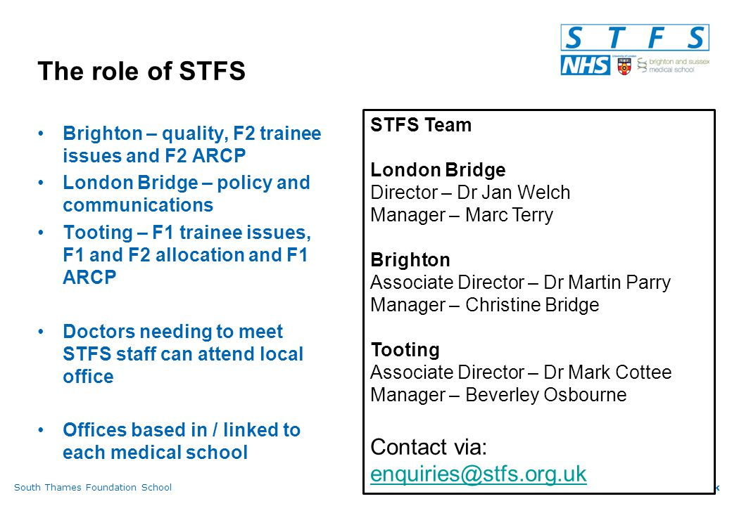 South Thames Foundation Schoolwww.stfs.org.uk Consent Taking consent is the responsibility of the doctor performing the procedure If a FD is not capable of carrying out a procedure, s/he may only obtain consent for it when trained to do so, directly supervised, and under delegation from the experienced doctor carrying out that procedure