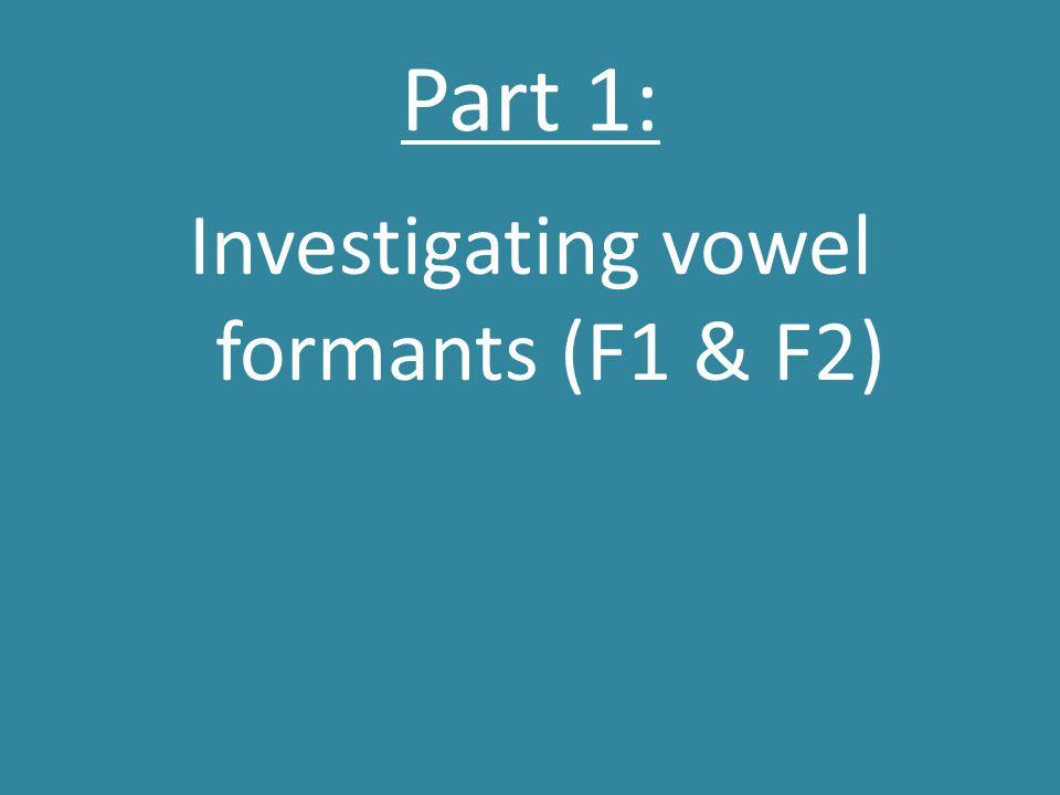 Part 1: Investigating vowel formants (F1 & F2)