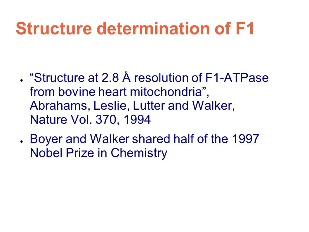 Structure determination of F1 ● Structure at 2.8 Å resolution of F1-ATPase from bovine heart mitochondria , Abrahams, Leslie, Lutter and Walker, Nature Vol.