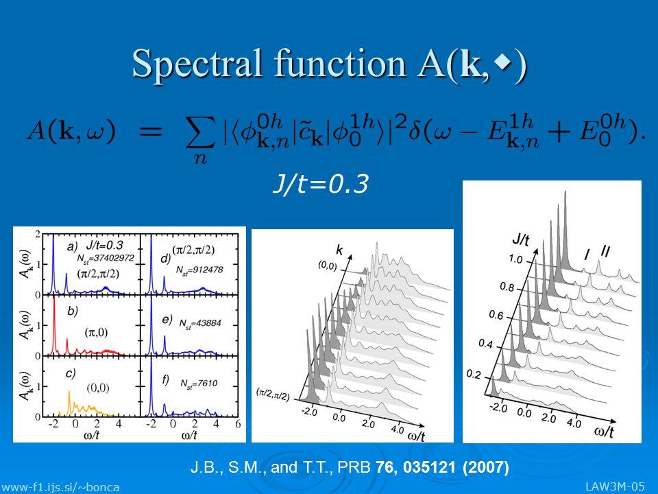 www-f1.ijs.si/~bonca LAW3M-05 Spectral function A(k, w ) J/t=0.3 J.B., S.M., and T.T., PRB 76, 035121 (2007)