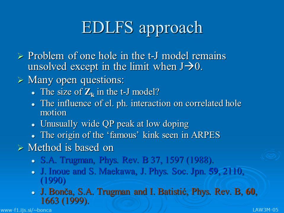 www-f1.ijs.si/~bonca LAW3M-05 E k, Z k, N k t'=-0.34t, t''=0.23t J/t=0.4 Ca 2-x Na x CuO 2 Cl 2 T.