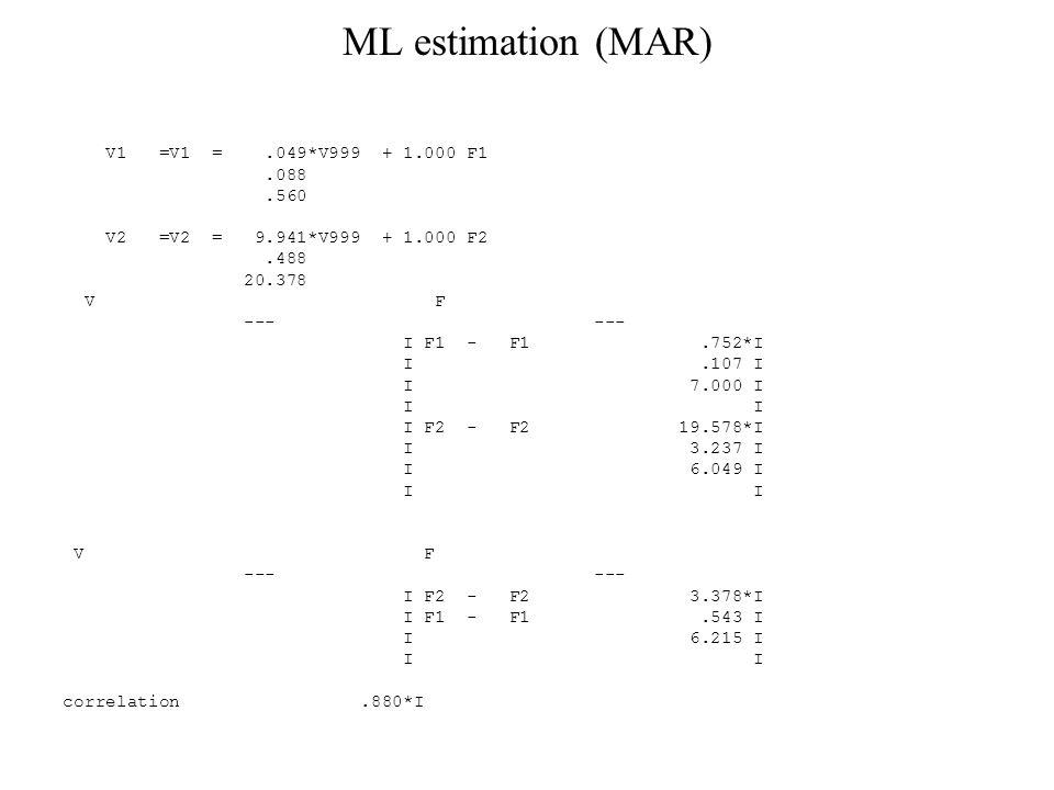 ML estimation (MAR) V1 =V1 =.049*V999 + 1.000 F1.088.560 V2 =V2 = 9.941*V999 + 1.000 F2.488 20.378 V F --- --- I F1 - F1.752*I I.107 I I 7.000 I I I I F2 - F2 19.578*I I 3.237 I I 6.049 I I I V F --- --- I F2 - F2 3.378*I I F1 - F1.543 I I 6.215 I I I correlation.880*I