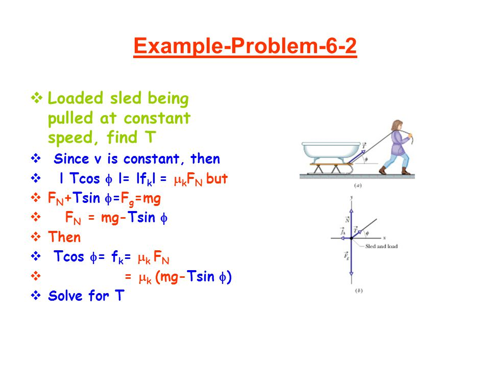 Example-Problem-6-2  Loaded sled being pulled at constant speed, find T  Since v is constant, then  l Tcos  l= lf k l =  k F N but  F N +Tsin 