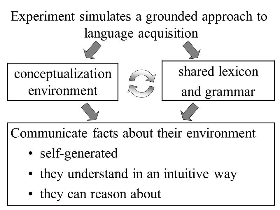 Experiment simulates a grounded approach to language acquisition conceptualization environment shared lexicon and grammar Communicate facts about their environment self-generated they understand in an intuitive way they can reason about