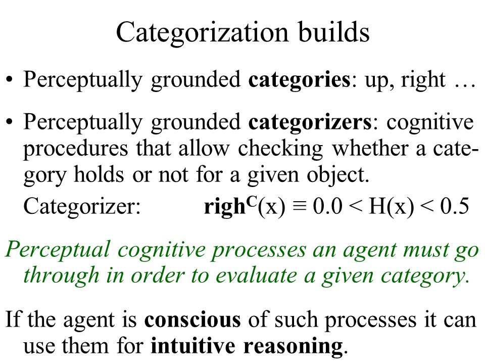 Categorization builds Perceptually grounded categories: up, right … Perceptually grounded categorizers: cognitive procedures that allow checking wheth