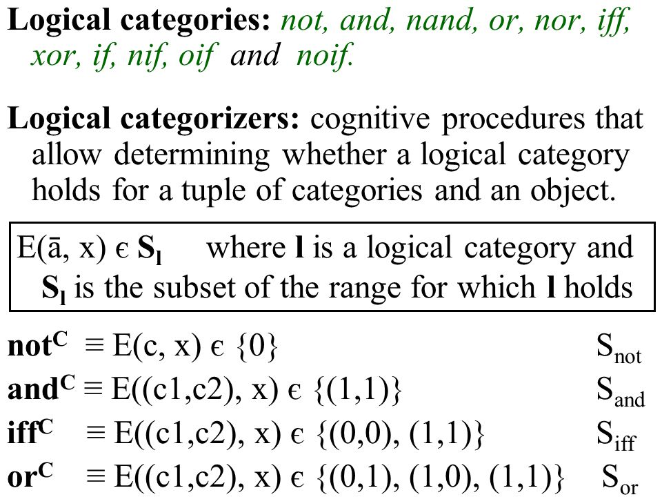 Logical categories: not, and, nand, or, nor, iff, xor, if, nif, oif and noif. Logical categorizers: cognitive procedures that allow determining whethe