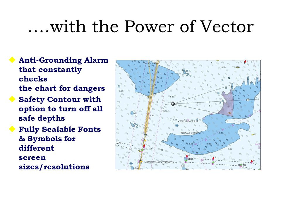 ….with the Power of Vector  Anti-Grounding Alarm that constantly checks the chart for dangers  Safety Contour with option to turn off all safe depths  Fully Scalable Fonts & Symbols for different screen sizes/resolutions