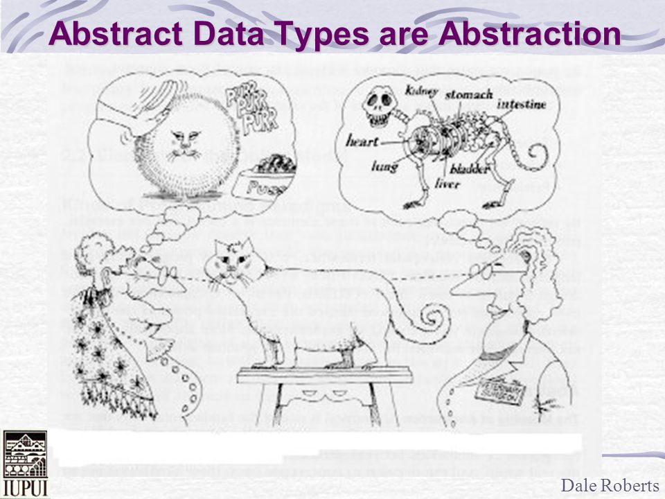 Dale Roberts Abstract Data Type Example An Abstract Data Type is a data type that is defined by the programmer, not the language.