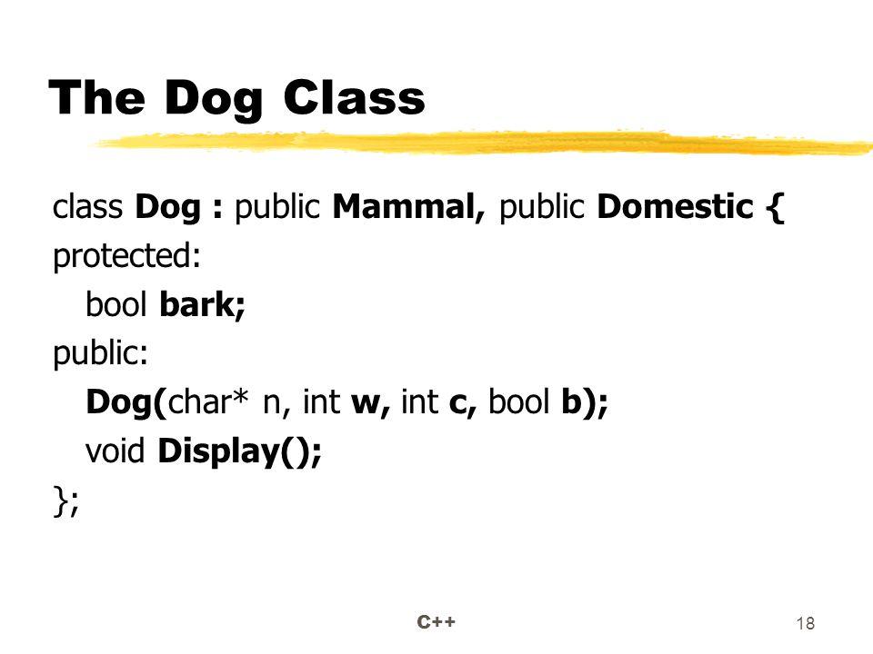 C++ 18 The Dog Class class Dog : public Mammal, public Domestic { protected: bool bark; public: Dog(char* n, int w, int c, bool b); void Display(); };