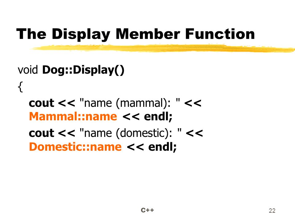 C++ 22 The Display Member Function void Dog::Display() { cout << name (mammal): << Mammal::name << endl; cout << name (domestic): << Domestic::name << endl;