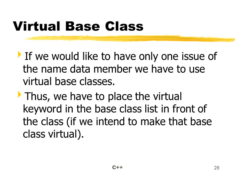 C++ 26 Virtual Base Class  If we would like to have only one issue of the name data member we have to use virtual base classes.