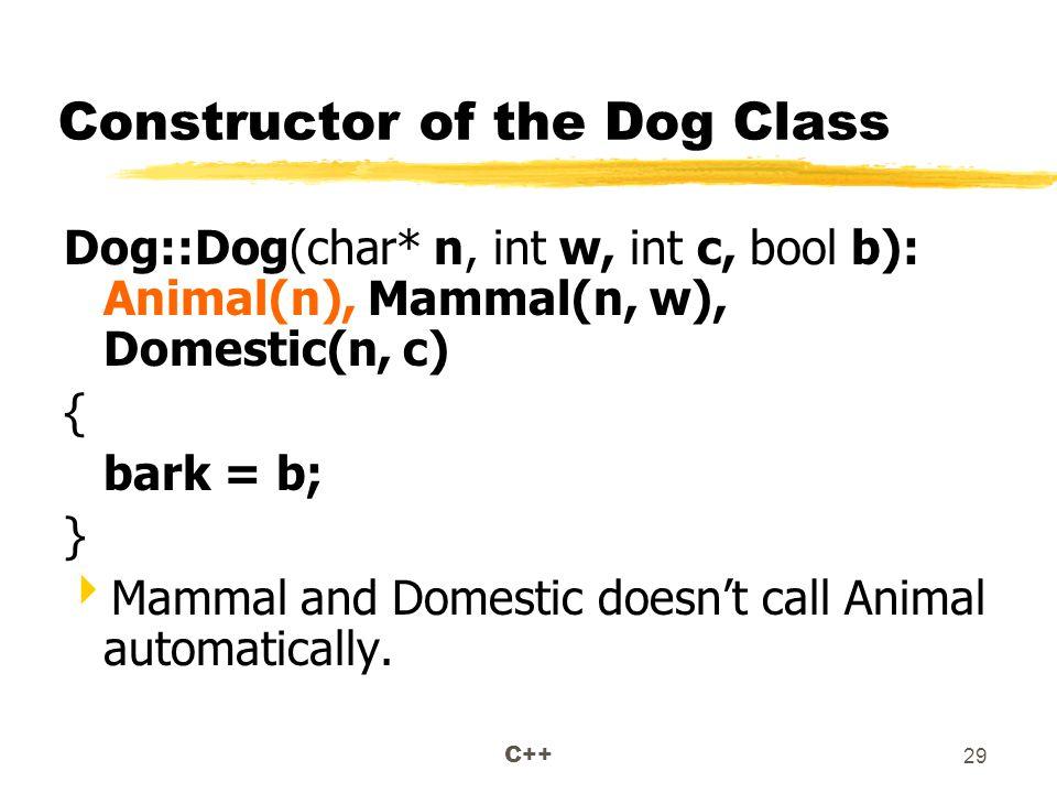 C++ 29 Constructor of the Dog Class Dog::Dog(char* n, int w, int c, bool b): Animal(n), Mammal(n, w), Domestic(n, c) { bark = b; }  Mammal and Domestic doesn't call Animal automatically.
