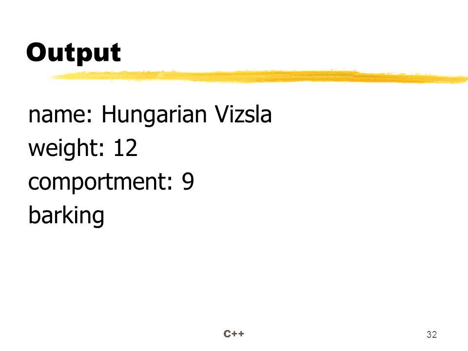 C++ 32 Output name: Hungarian Vizsla weight: 12 comportment: 9 barking