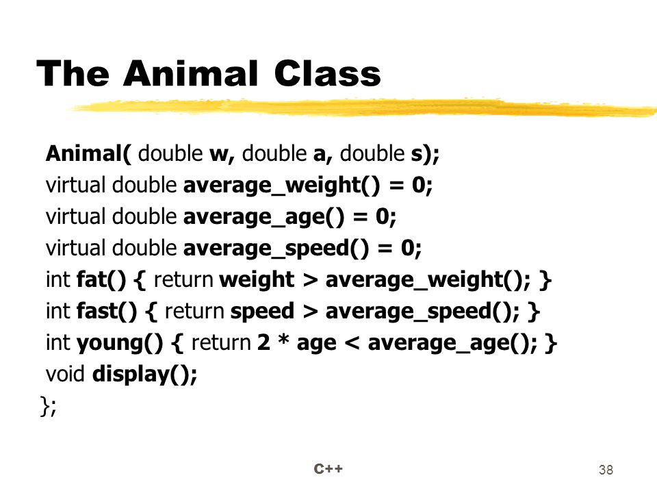 C++ 38 The Animal Class Animal( double w, double a, double s); virtual double average_weight() = 0; virtual double average_age() = 0; virtual double average_speed() = 0; int fat() { return weight > average_weight(); } int fast() { return speed > average_speed(); } int young() { return 2 * age < average_age(); } void display(); };