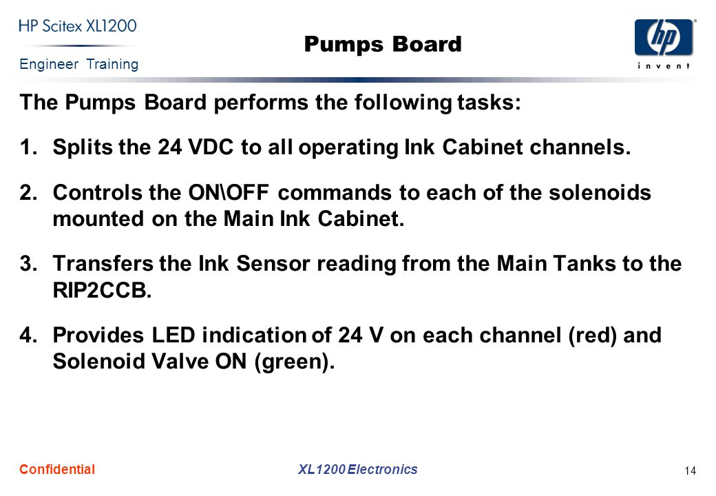Engineer Training XL1200 Electronics Confidential 14 Pumps Board The Pumps Board performs the following tasks: 1.Splits the 24 VDC to all operating Ink Cabinet channels.
