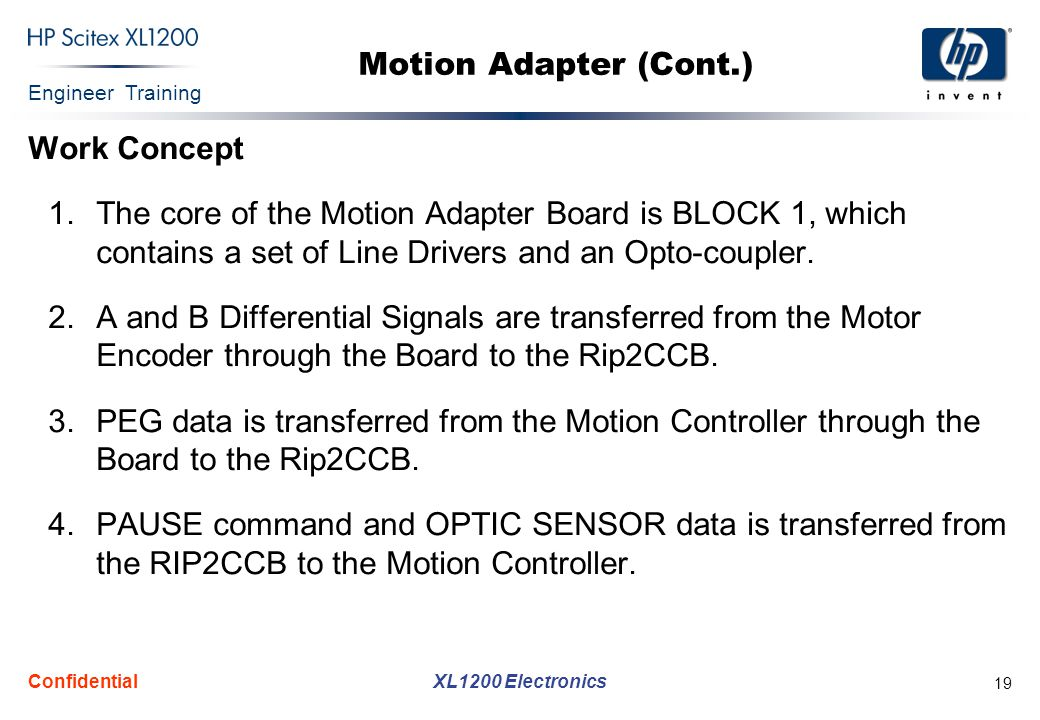 Engineer Training XL1200 Electronics Confidential 19 Motion Adapter (Cont.) Work Concept 1.The core of the Motion Adapter Board is BLOCK 1, which contains a set of Line Drivers and an Opto-coupler.
