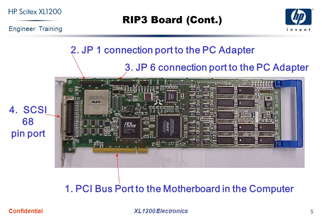Engineer Training XL1200 Electronics Confidential 5 RIP3 Board (Cont.) 4. SCSI 68 pin port 1. PCI Bus Port to the Motherboard in the Computer 2. JP 1