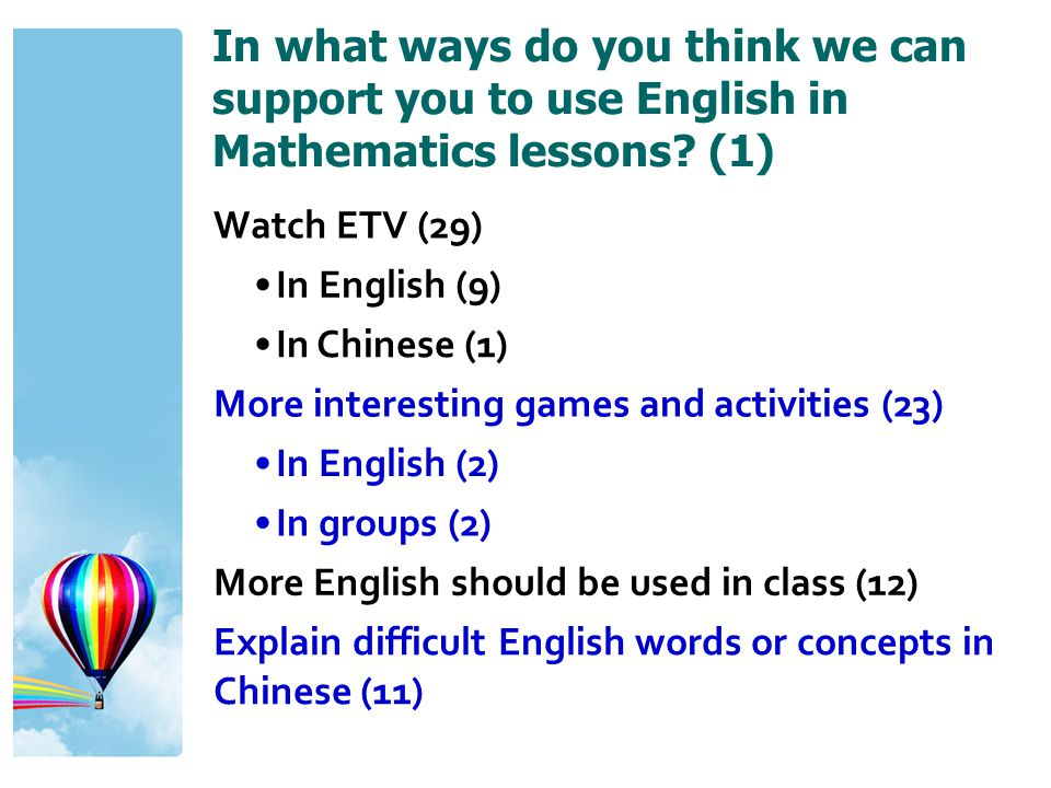 In what ways do you think we can support you to use English in Mathematics lessons? (1) Watch ETV (29) In English (9) In Chinese (1) More interesting
