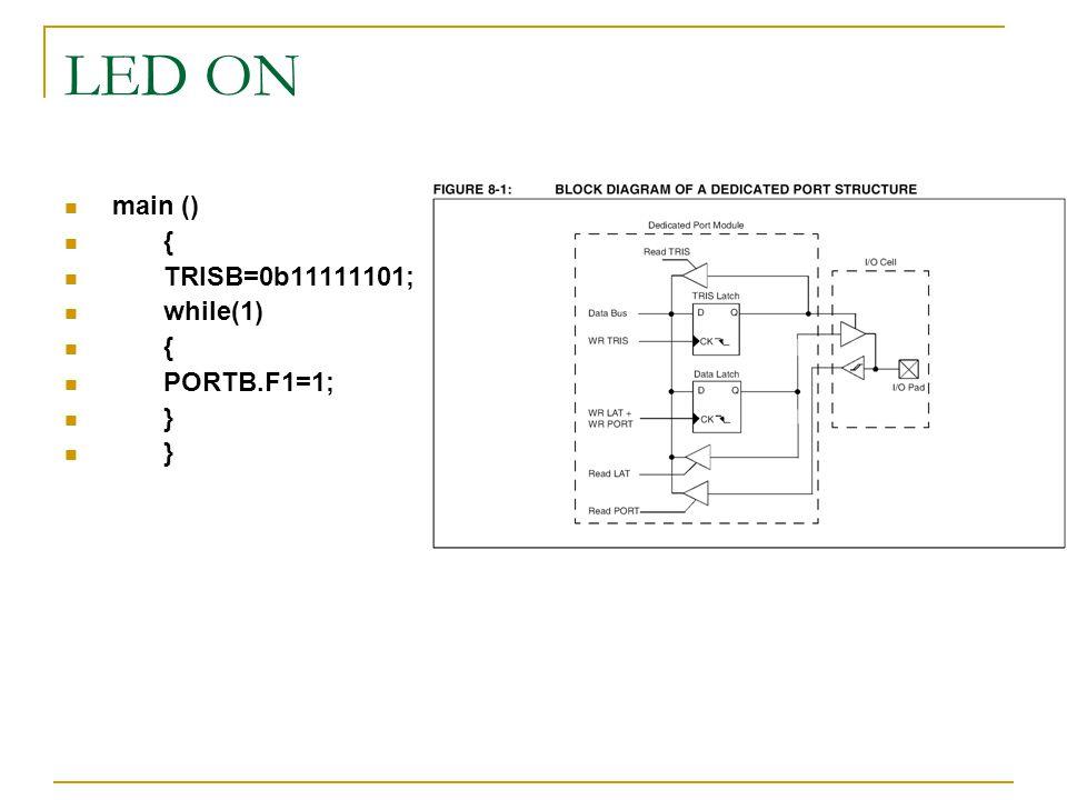 LED ON main () { TRISB=0b11111101; while(1) { PORTB.F1=1; }