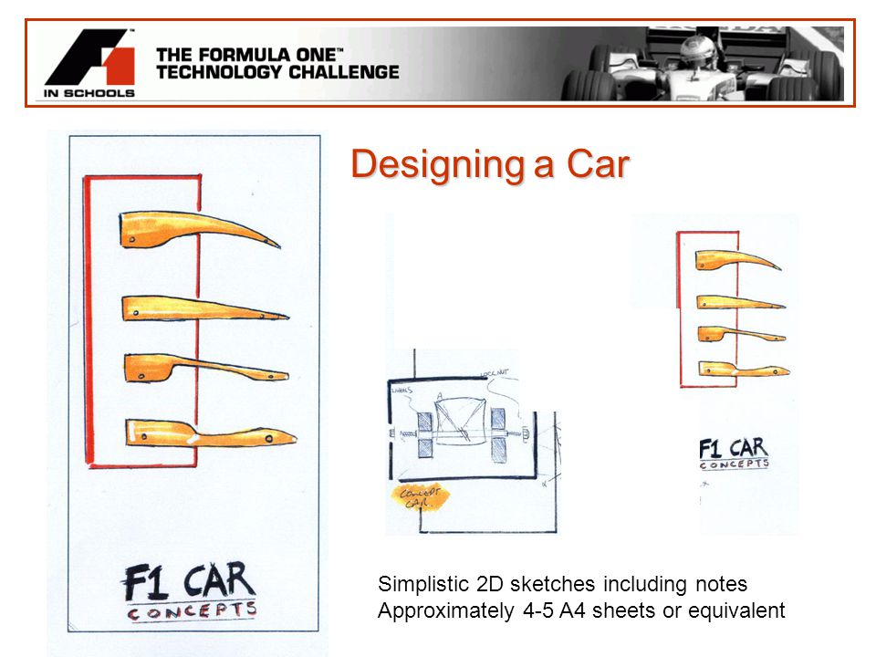 Designing a Car Simplistic 2D sketches including notes Approximately 4-5 A4 sheets or equivalent