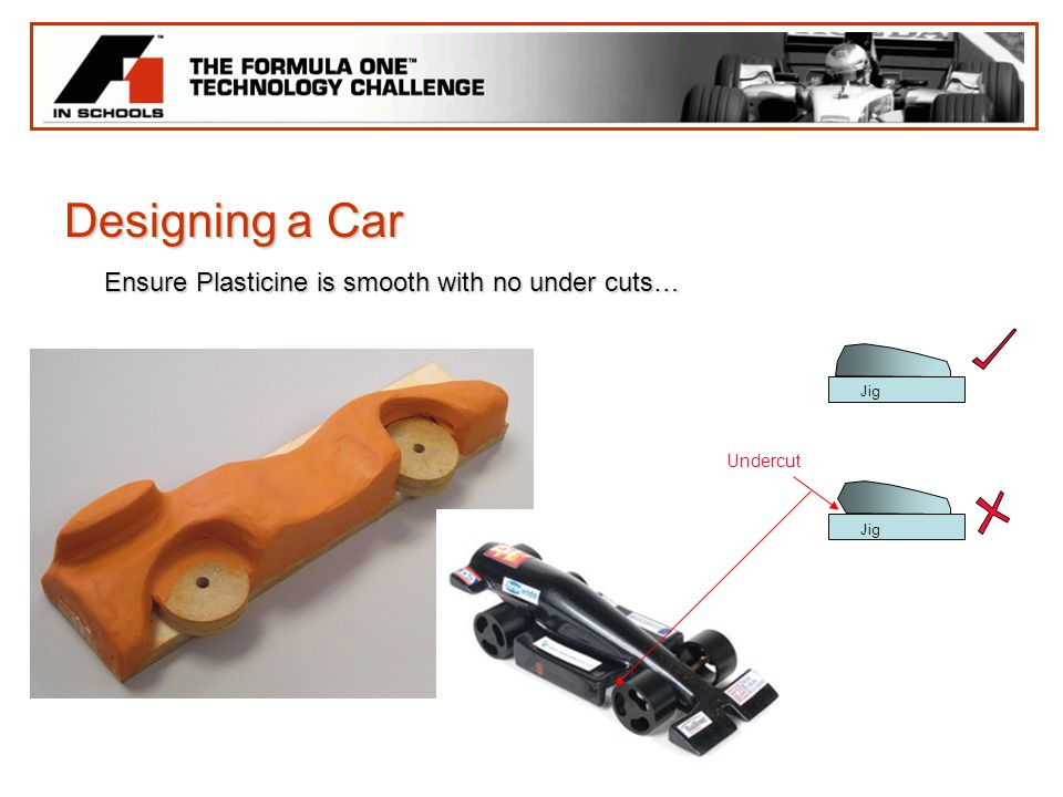 Designing a Car Ensure Plasticine is smooth with no under cuts… Undercut Jig