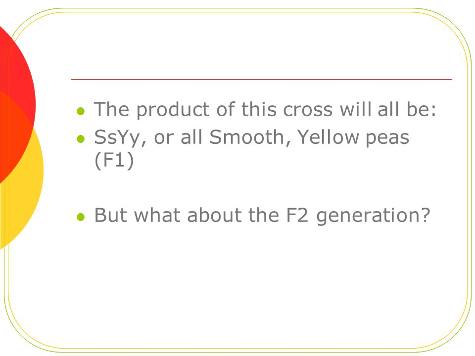 The product of this cross will all be: SsYy, or all Smooth, Yellow peas (F1) But what about the F2 generation