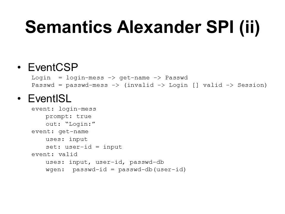 Semantics Alexander SPI (ii) EventCSP Login = login-mess -> get-name -> Passwd Passwd = passwd-mess -> (invalid -> Login [] valid -> Session) EventISL event: login-mess prompt: true out: Login: event: get-name uses: input set: user-id = input event: valid uses: input, user-id, passwd-db wgen: passwd-id = passwd-db(user-id)