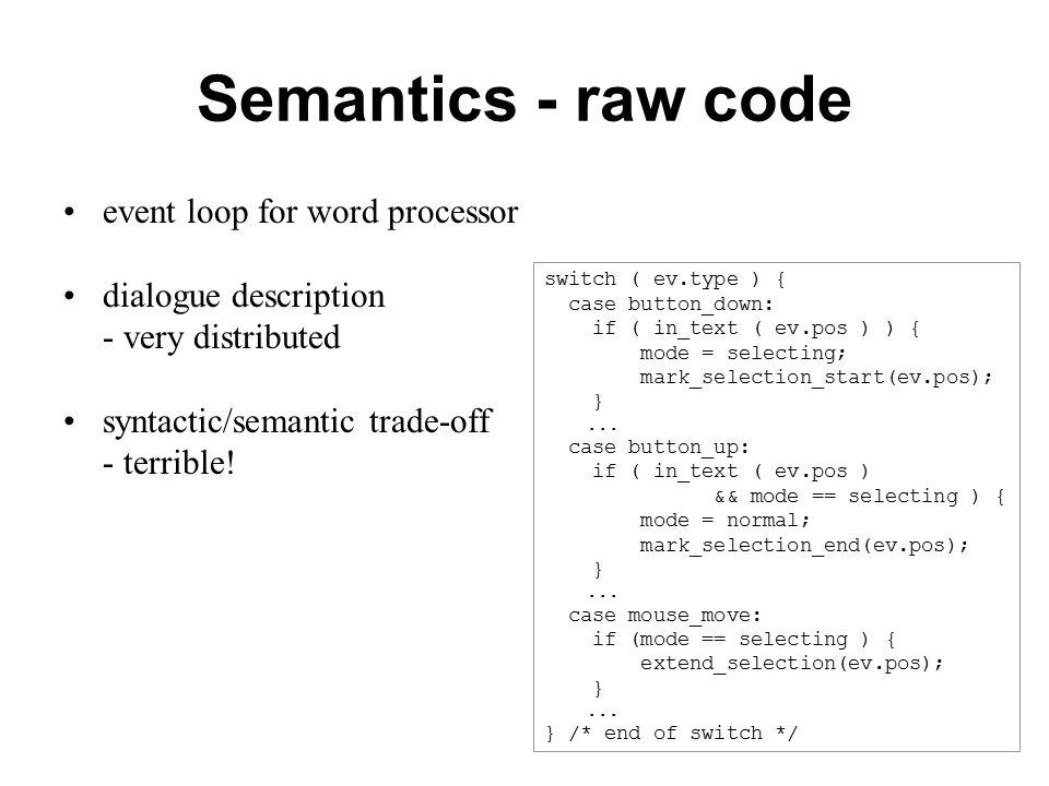 Semantics - raw code event loop for word processor dialogue description - very distributed syntactic/semantic trade-off - terrible.