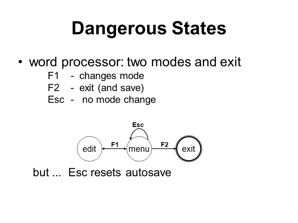 Dangerous States word processor: two modes and exit F1- changes mode F2- exit (and save) Esc- no mode change but...